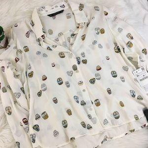 Zara Basic Owl Print Button-up NWT!!
